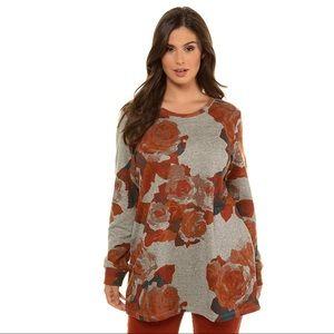 Ulla Popken Plus Size Floral Round Neck Sweatshirt